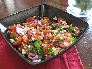 Tomato feta basil red onion