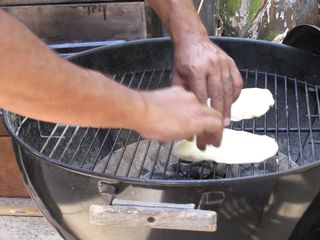 Pizza dough on the grill